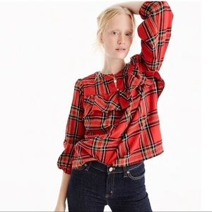 J. Crew Ruffle Top In Festival Plaid Size Small